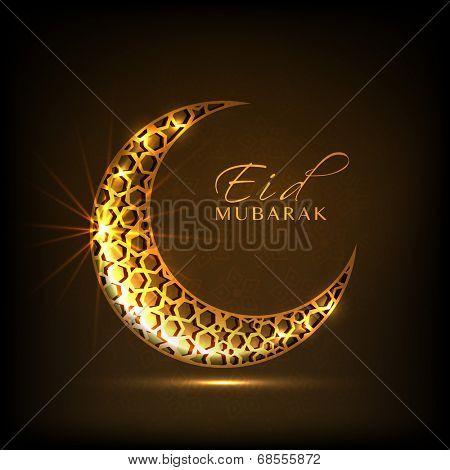Golden crescent moon on brown background for muslim community festival Eid Mubarak celebrations.