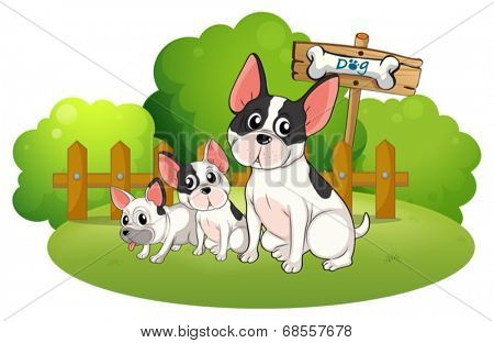 Illustration of a backyard with three bulldogs on a white background
