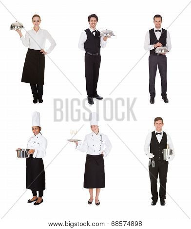 Group Of Waiter And Waitress