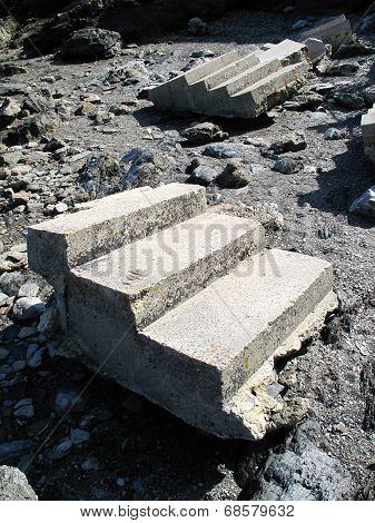 Storm Damaged Steps Beach Seascape