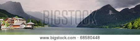 Panoramic view of The Grundlsee Lake and Totes Gebirge mountains on a background. Salzkammergut, Austria, Europe.