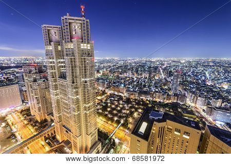 TOKYO, JAPAN - MARCH 15, 2014: The Metropolitan Government Building is the headquarters of the Tokyo Metropolitan Government which governs 23 wards and outlying cities of Tokyo.