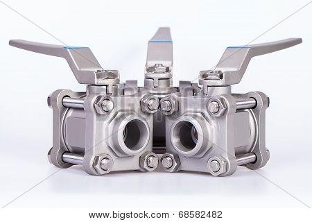 Three ball valve on white background