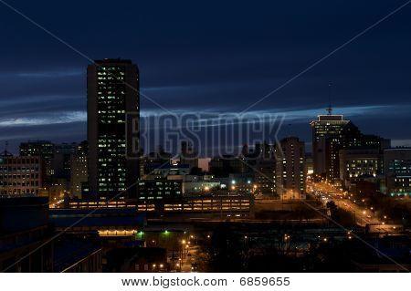 Night time cityscape of Richmond, Virginia.