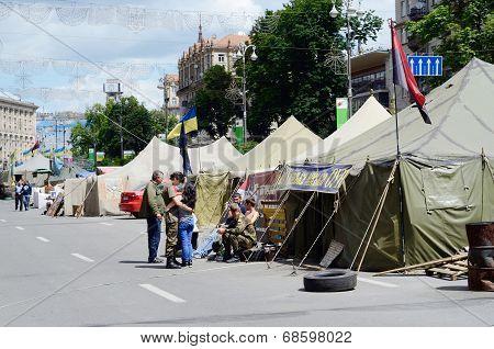 Protesters tents with ukrainian flags at Khreshatyk street near Maydan Nezalezhnosti square, Kiev