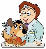 Dog with collar at veterinarian - vector illustration. poster