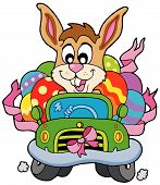 Easter bunny driving small car - vector illustration. poster