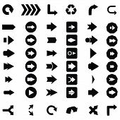 Set of black universal arrows. vector illustration eps10. poster
