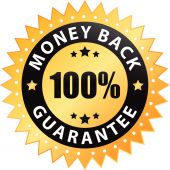 100% money back guarantee label isolated on a white background poster
