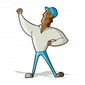 cartoon man striking heroic pose poster