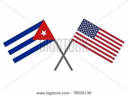 Flag Of Cuba And Usa