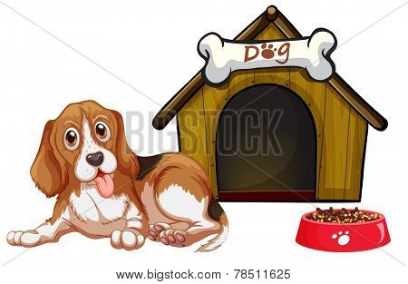 Illustration of a dog sitting in front of a house