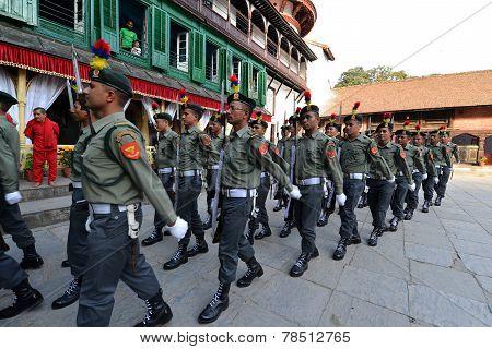 Nepalese Soldiers Marching In Kathmandu