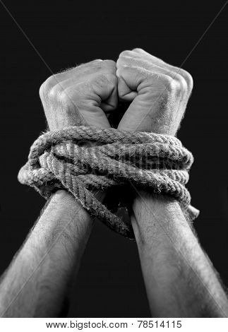 white man hands wrapped with rope around wrists in captivity victim abused slave of work respect for human rights and exploitation concept isolated on black background poster