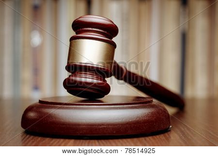 Judges Wooden Gavel In Court