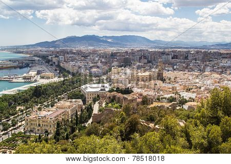 Panoramic View Of Malaga City. Andalusia, Spain