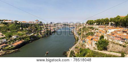 View Of City Porto And Eiffel Bridge In Portugal