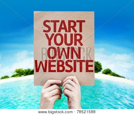 Start Your Own Website card with beach background