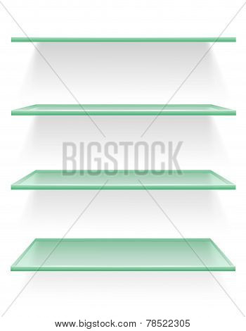 Transparent Glass Shelf Vector Illustration