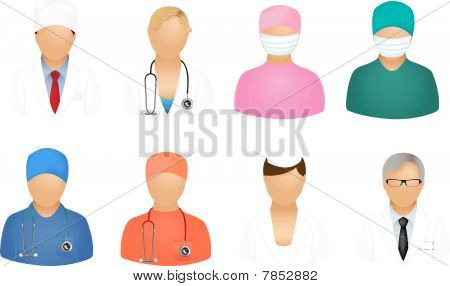 poster of Set Of Medical People Icons, Isolated On White