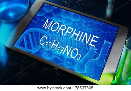 the chemical formula of Morphine on a tablet with test tubes poster