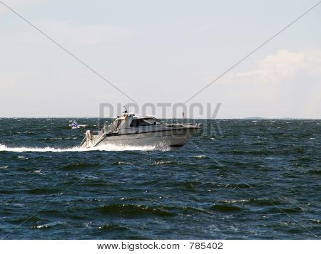 Motorboat in a sea