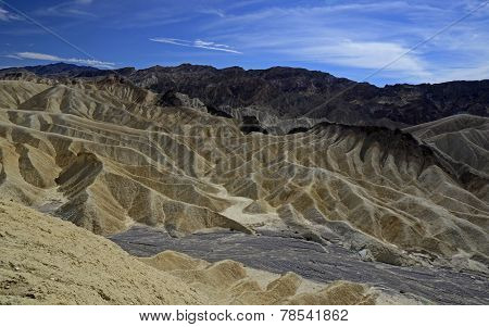 Zabriskie Point is a part of Amargosa Range located east of Death Valley in Death Valley National Park in California, United States noted for its erosional landscape. Death Valley is a desert valley located in Eastern California's Mojave Desert poster