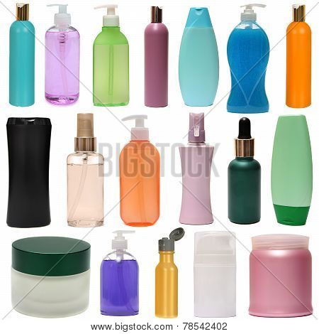 colored plastic bottles with liquid soap and shower gel.