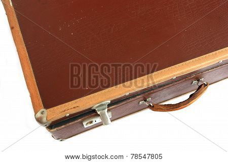 Vintage suitcase on white background