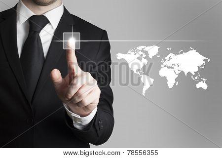 Businessman Pushing Button Worldmap Global