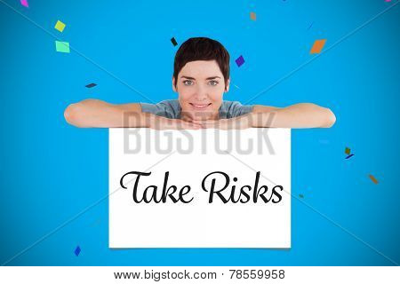 Serene woman relying on a blank panel against white card