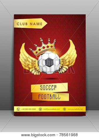 Stylish flyer and banner for sport club with address bar and mailer on red background.