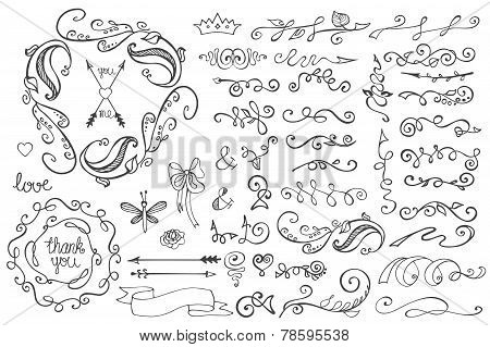 Doodle Border,brushes,decor Element.floral Hand Scetched