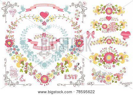Cute Wedding Template Set.decor Element,floral Wreath