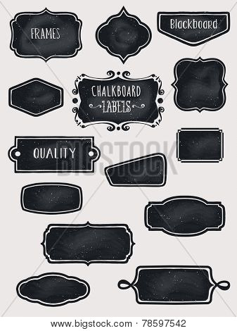 Chalkboard Frames and Labels - Set of hand-drawn blackboard frames and labels in black