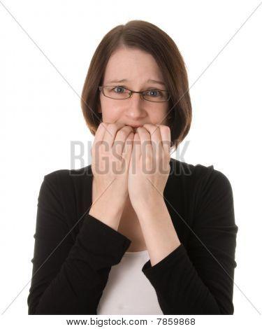 Nervous Woman On White