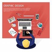 Concept for graphic design, designer tools and software in flat design with computer surrounded designer equipment and instruments. Top view of designer draws on tablet at desk poster