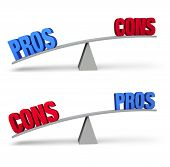 """Set of two pro and con balance beams isolated on white. On one scale a bold blue """"PROS"""" outweighs a red """"CONS"""" and on the other a red """"CONS"""" outweighs a blue """"PROS"""". poster"""