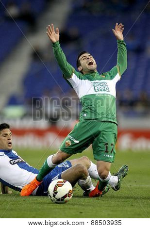 BARCELONA - APRIL, 6: Victor Rodriguez of Elche CF during a Spanish League match against RCD Espanyol at the Estadi Cornella on April 6, 2015 in Barcelona, Spain