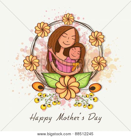 Happy cute mother with her daughter, hugging to each other on occasion of Happy Mother's Day, can be used as greeting or invitation card.