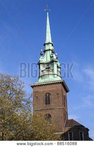 The spire of All Hallows by the Tower church - one of the oldest churches in London. poster