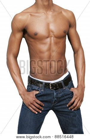 African American Man With Naked Torso