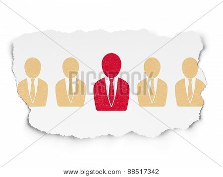 Finance concept: red business man icon on Torn Paper background