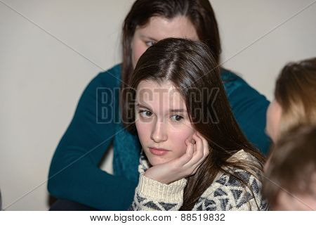 Girl Teenager Is Listening Carefully Her Interlocutors.