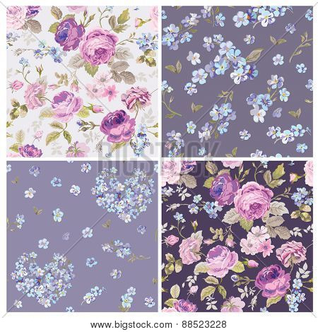 Set of Spring Flowers Backgrounds - Seamless Floral Shabby Chic Pattern - in vector