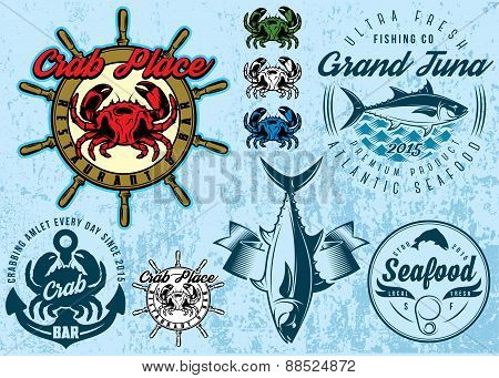 Templates With Crab And Tuna For Design Packing Seafood