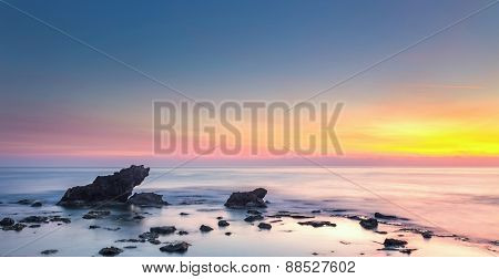 Castiglioncello Rock And Sea On Sunset. Tuscany, Italy.