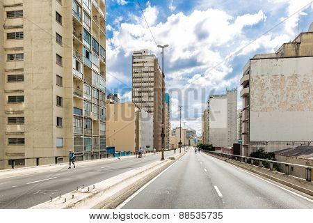 Costa e Silva Elevated Road (Minhocao) in Sao Paulo, Brazil