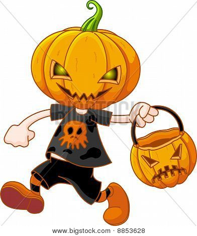 Pumpkin Head Boy With Halloween Bag