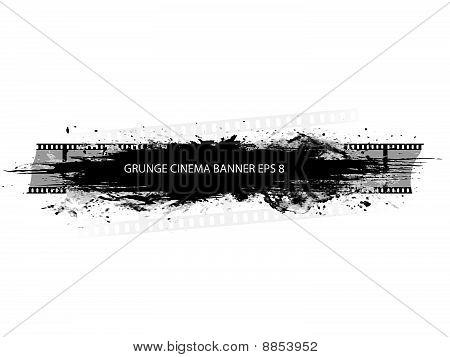 Grunge cinema banner with splash